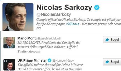 Twitter: il falso Mario Monti inganna anche Sarkozy